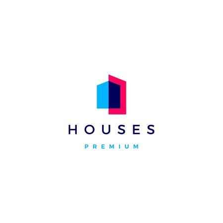 huis huis architect hypotheek gevel logo vector pictogram illustratie overlappende stijl