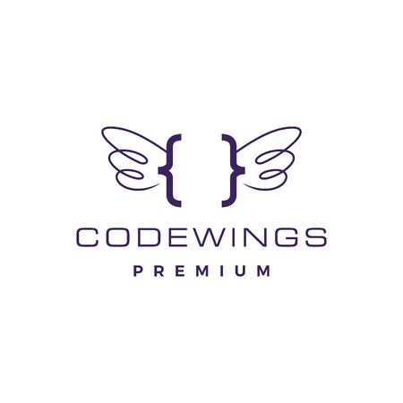 code wing angel logo vector icon illustration Banque d'images - 127374524