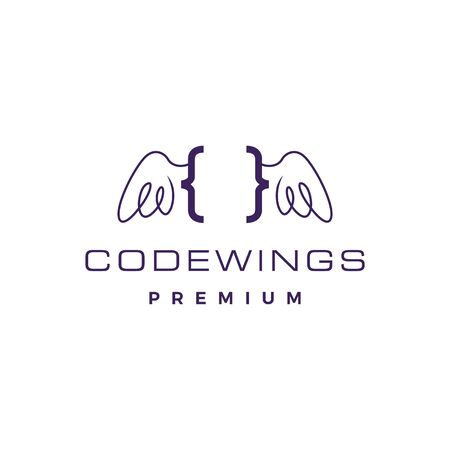 code wing angel logo vector icon illustration Banque d'images - 127374526
