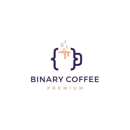 code binary coffee cafe mug glass logo vector icon illustration Banque d'images - 127374528