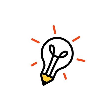 pencil bulb lamp idea think creative logo vector icon illustration Banque d'images - 127374757