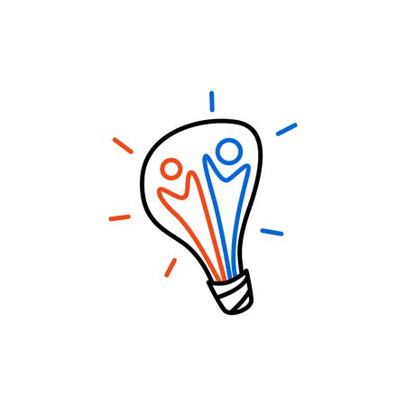 team people bulb lamp idea think creative logo vector icon illustration Banque d'images - 127374762