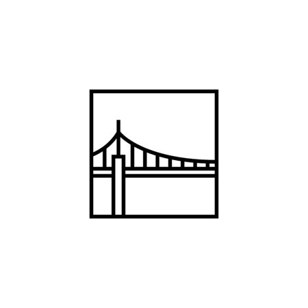 bridge square logo vector icon illustration line outline monoline