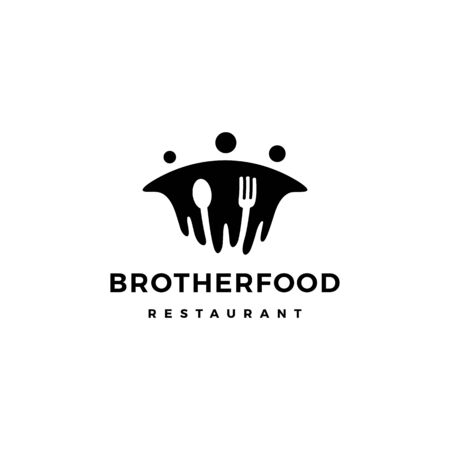 brother food people group human fork spoon logo vector icon illustration