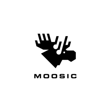 moose music logo vector icon illustration Banque d'images - 127645605