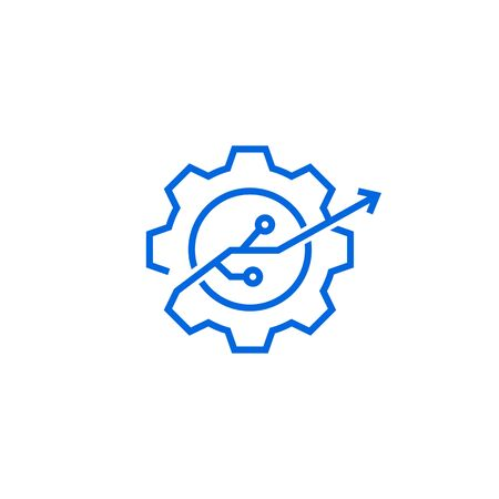 gear tech improvement logo vector icon illustration in line outline style Banque d'images - 127913818