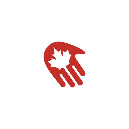 canada canadian hand maple leaf logo vector icon illustration Banque d'images - 127913822