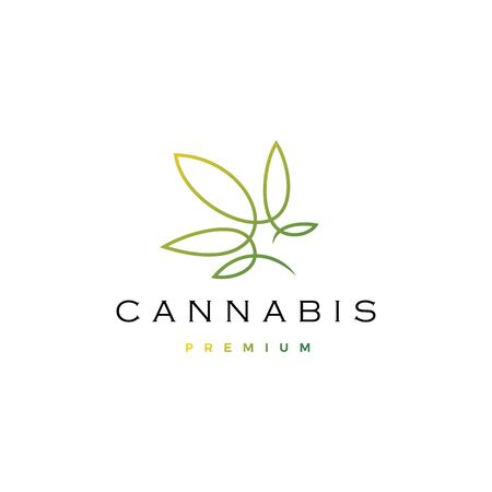 cannabis logo vector icon illustration with continuous line monoline outline style Banque d'images - 127913831