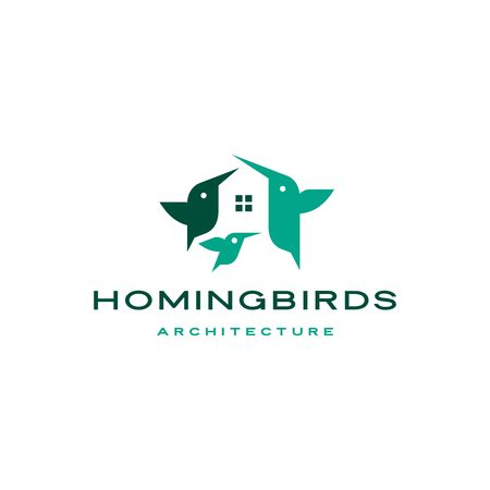 hummingbirds house home mortgage architecture logo vector icon illustration Banque d'images - 127913862