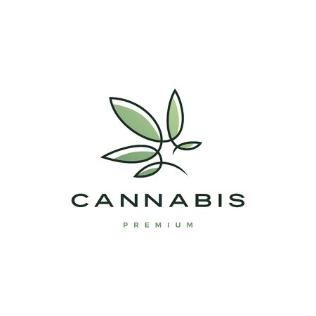 cannabis logo vector icon illustration with continuous line with color fill Иллюстрация
