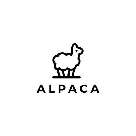 alpaca llama logo vector icon illustration line outline monoline style Banque d'images - 128167534