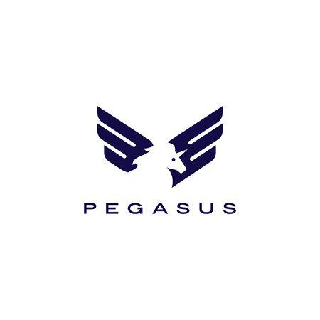 horse pegasus unicorn wings logo vector icon illustration Banque d'images - 130726765