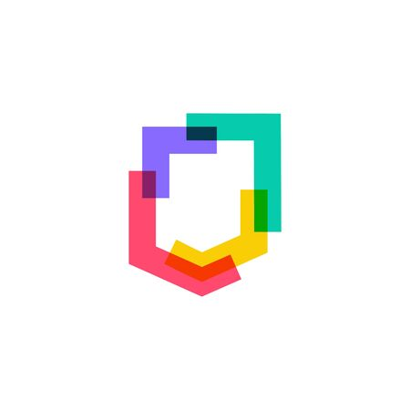 colorful shield logo vector icon illustration in overlap overlapping style Banque d'images - 130726920