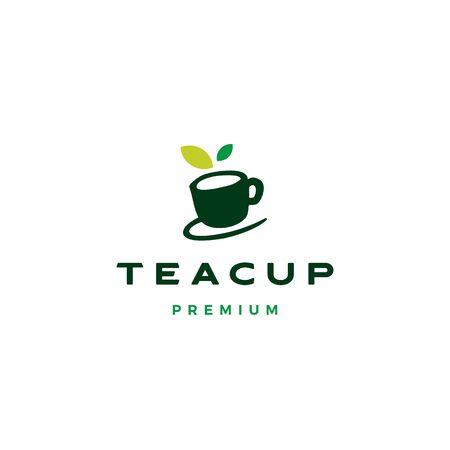 tea cup leaf logo vector icon illustration Ilustração