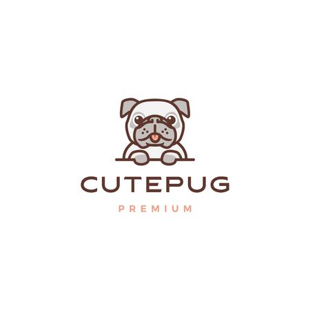 cute pug dog cartoon character mascot logo vector icon illustration Banque d'images - 131789546