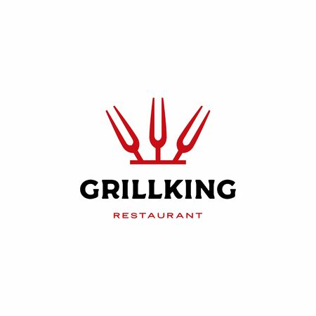 grill king fork logo vector icon illustration Illustration