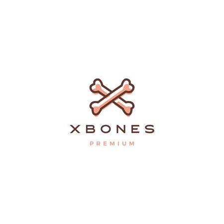 x cross bone for dog logo vector icon illustration  イラスト・ベクター素材