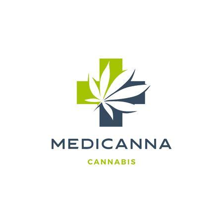 medical cannabis logo vector hemp leaf icon download Illustration