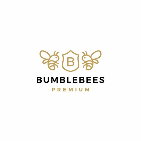 bumble bee coat of arms logo vector icon illustration