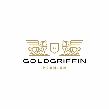 griffin coat of arms logo vector icon illustration
