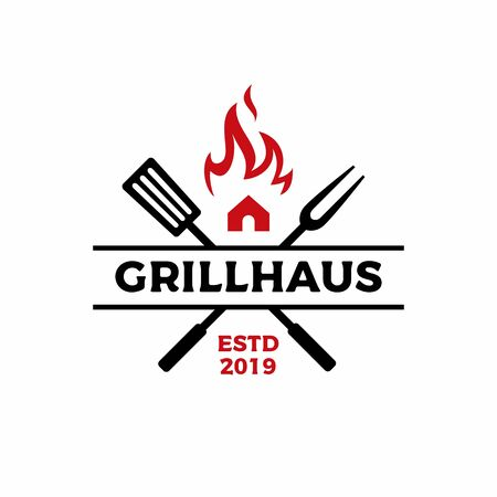 grill house fork spatula fire flame logo vector icon illustration Illustration