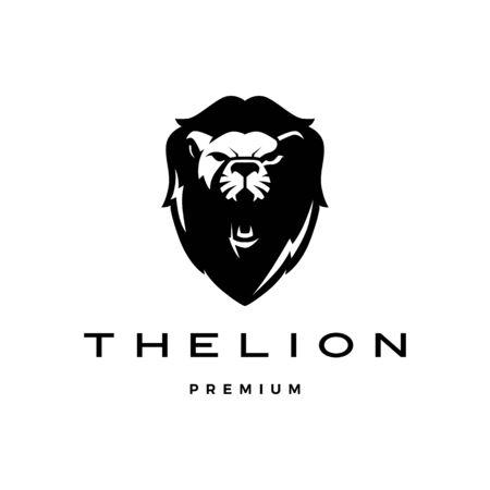roaring lion head logo vector icon illustration Stock Illustratie
