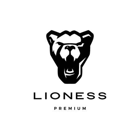 roaring lioness head logo vector icon illustration Çizim