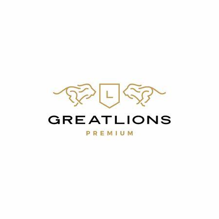 lion coat of arms logo vector icon illustration Stock Illustratie