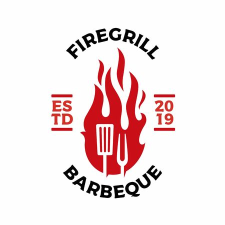 grill fork spatula fire flame logo badges label vector icon illustration
