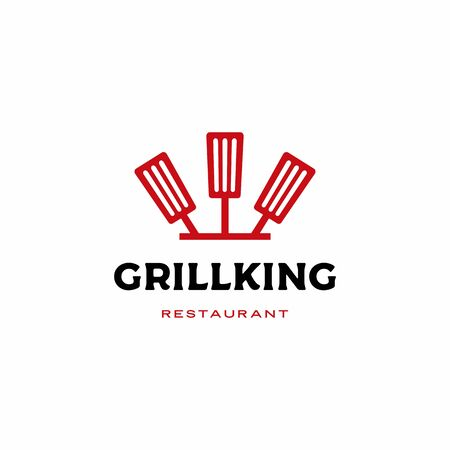 chef kitchen grill king spatula fork logo vector icon illustration