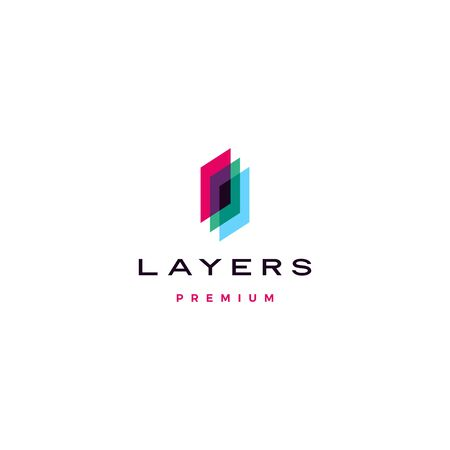 transparent layers logo vector icon illustration in overlap overlapping style