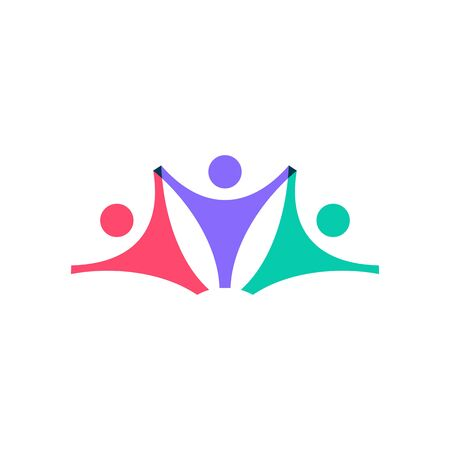 family people logo vector icon illustration on overlap overlapping color style