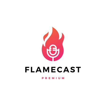 flame fire podcast mic logo vector icon illustration Illusztráció