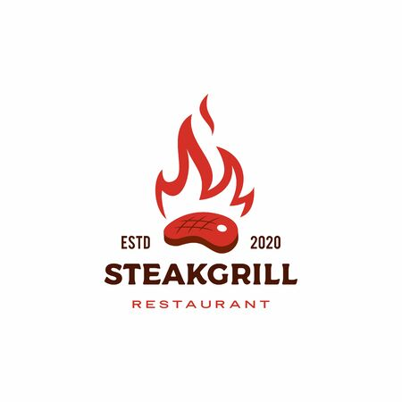 roasted steak grill fire flame logo vector icon illustration