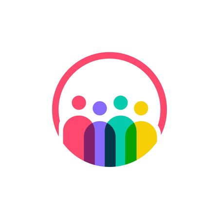 four people logo vector icon illustration