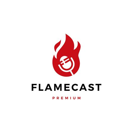 flame fire podcast mic logo vector icon illustration Ilustrace
