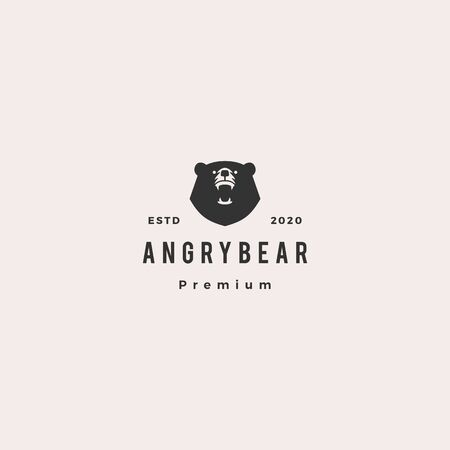 angry bear logo hipster vintage retro vector icon illustration