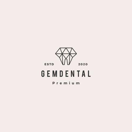 gems dental logo hipster retro vintage for dentist and dentistry Illustration