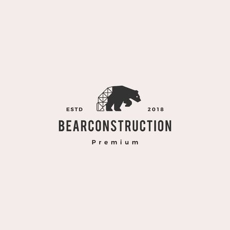 polar bear construction logo hipster retro vintage vector icon illustration Illustration