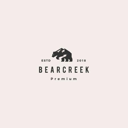 Bär Creek Mount Logo Hipster Retro-Vintage-Vektor-Symbol-Illustration Logo