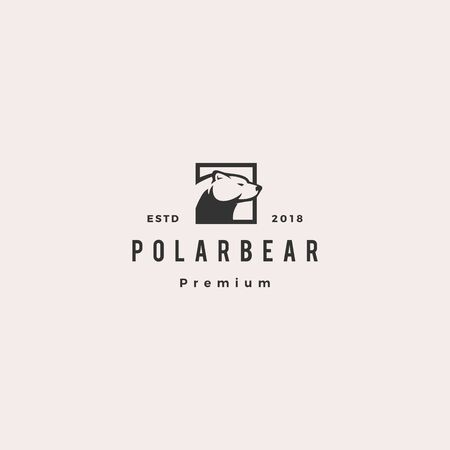 polar bear logo hipster retro vintage vector icon illustration