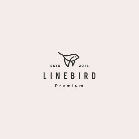 flying bird logo hipster retro vintage vector icon illustration line outline monoline