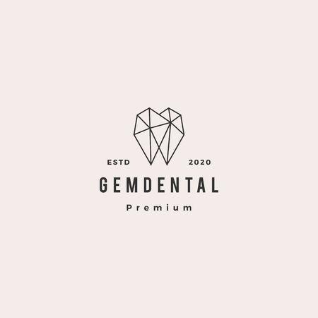 gems dental logo hipster retro vintage for dentist and dentistry 向量圖像