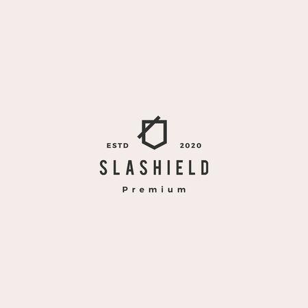 slash shield logo hipster retro vintage vector icon
