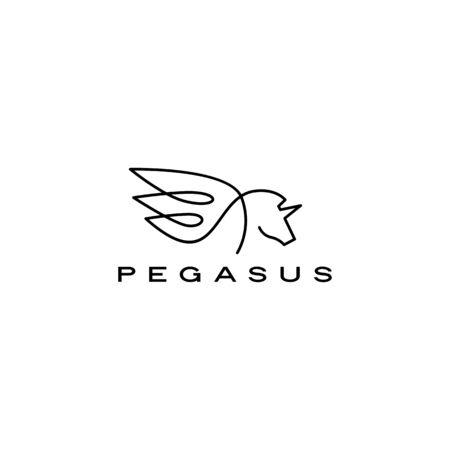pegasus unicorn horse wing logo vector icon illustration
