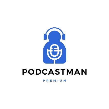 man mic headphone podcast sing logo vector icon illustration 일러스트