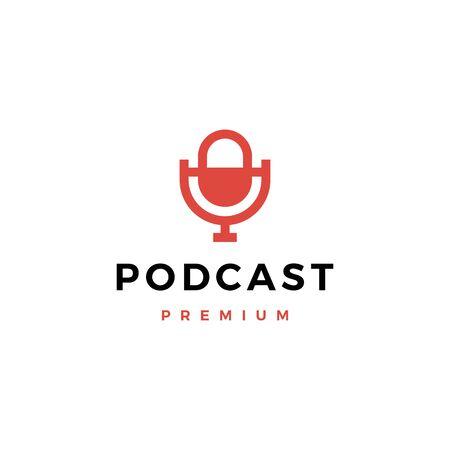mic podcast logo vector icon illustration