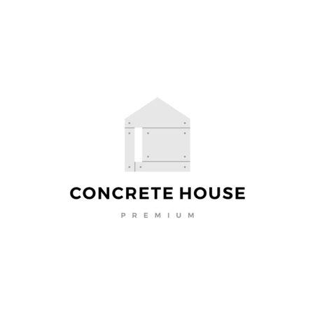 illustration de l'icône vecteur logo maison en béton exposé Logo