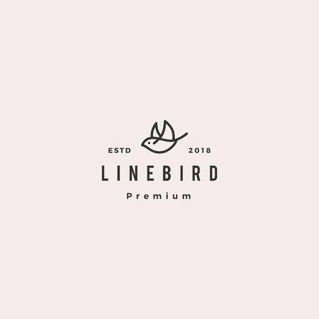 flying bird logo hipster retro vintage line outline monoline vector icon illustration