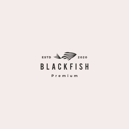 black fish logo hipster retro vintage vector icon illustration